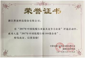 中国线缆行业100强企业